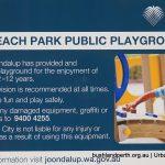 Iluka Foreshore Park playground signage.